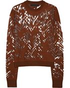 Alexander Wang Mesh Burnout Effect Wool Blend Sweater - Lyst