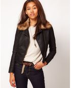 River Island Pu Biker with Faux Fur Collar - Lyst