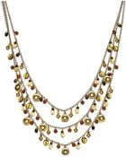 Ralph Lauren 14k Gold Plated Multi Bead Three Row Necklace - Lyst