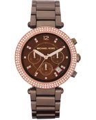 Michael Kors Womens Chronograph Espresso Tone Stainless Steel Bracelet 39mm - Lyst