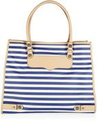 Rebecca Minkoff Striped Leather and Canvas Tote - Lyst