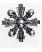 Cara Accessories Crystal Glass Pearl Brooch - Lyst