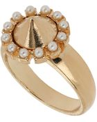 Topshop Pearl Surround Spike Ring - Lyst