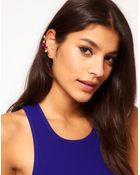 Asos Double Jewelled Ear Cuffs - Lyst