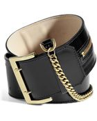 McQ by Alexander McQueen Black Wide Leather Belt with Chain - Lyst