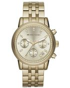 Michael Kors Ladies Ritz Gold-Tone Stainless Steel Chronograph Watch With Crystals - Lyst