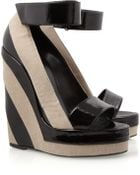 Pierre Hardy Canvas and Patentleather Platform Wedge Sandals - Lyst