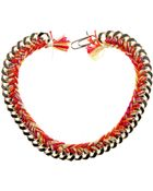 Aurelie Bidermann Golden Brass Metal Chain Necklace and Multicolor Braided Cotton Threads - Lyst