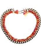 Aurelie Bidermann Golden Brass Metal Chain Necklace and Multicolor Braided Cotton Threads - Lyst