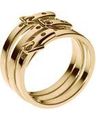 Michael Kors Skinny Buckle Ring Golden - Lyst