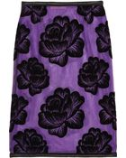 Christopher Kane Leather Trimmed Flocked Tulle Pencil Skirt - Lyst