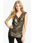 MICHAEL Michael Kors Drape Neck Sequin Top - Lyst