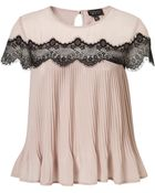 Topshop Scallop Lace Insert Pleat Top - Lyst