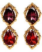 Oscar de la Renta Drop Stone Clip Earrings - Lyst
