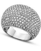 Swarovski Rhodiumplated Pave Crystal Stone Ring - Lyst