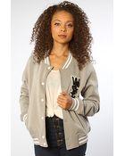 Wesc The Laika Fleece Varsity Jacket in Pumice Rock - Lyst