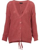Topshop Knitted Lace Up Back Cardi - Lyst