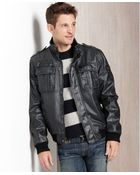 Calvin Klein Faux Leather Sherpa Lined Bomber Jacket - Lyst