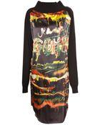 Jean Paul Gaultier Silk Print Long Sleeve Dress Black - Lyst