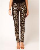 Asos Skinny Jeans in Metallic Baroque Print - Lyst