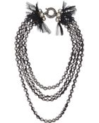 Lanvin Tullecovered Faux Pearl and Glass Crystal Necklace - Lyst