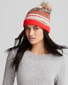 Juicy Couture Luxe Jacquard Beanie with Faux Fur Pom - Lyst