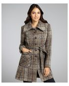 DKNY Brown Tweed Wool Woven Belted Button Down Coat - Lyst