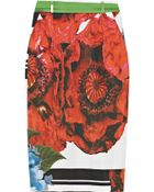 Preen By Thornton Bregazzi Ella Printed Cotton Blend Sateen Skirt - Lyst