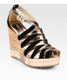 Jimmy Choo Woven Metallic Leather Suede Cork Wedges - Lyst