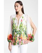 Blumarine Floral Print Chiffon Blouse - Lyst