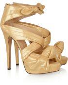 Charlotte Olympia Andrea Metallic Brushedleather Sandals - Lyst