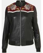 Topshop Clive Embroidered Leather Bomber Jacket - Lyst