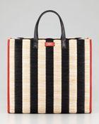 Fendi Pequin Striped Raffia Snake Tote Bag - Lyst