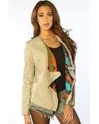 Crooks And Castles The Mayan Raw Edge Faux Leather Waterfall Jacket in Sand - Lyst