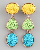 Oscar de la Renta Carved Cabochon Earrings Pastel - Lyst