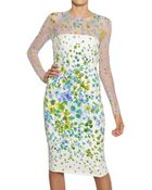 Versace Flower Devore On Viscose Cady Dress - Lyst