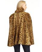 Wren Faux Leopard Fur Cape Coat - Lyst