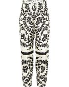 Chloé Floral-print Silk Tapered Pants - Lyst