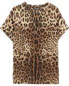 Dolce & Gabbana Leopard Print Silk Top - Lyst
