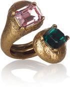 Oscar de la Renta 22karat Gold Plated Glass Ring - Lyst