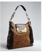 Diane von Furstenberg Chocolate Leather and Spotted Calf Hair Harper Hobo Bag - Lyst