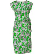 Etro Apple Greenmulti Printed Silk Dress - Lyst