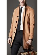 Burberry Leather Trim Wool Cashmere Coat - Lyst