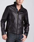John Varvatos Leather Motorcycle Jacket - Lyst