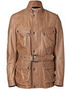 Belstaff Mocha Leather Preston Luxe Trialmaster Jacket - Lyst