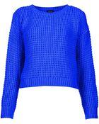 Topshop Knitted Textured Crop Jumper - Lyst