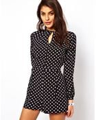 ASOS Collection Spot Print Playsuit  - Lyst