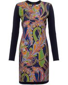Ralph Lauren Black Label Paisley Silk and Cashmere Dress - Lyst