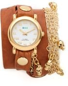 La Mer Collections Skull Charms Wrap Watch - Lyst