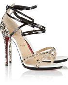 Christian Louboutin Monocronana 120 Studded Patentleather Sandals - Lyst